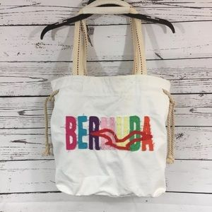 Bermuda Embroidered Beach Bag Draw String Tote
